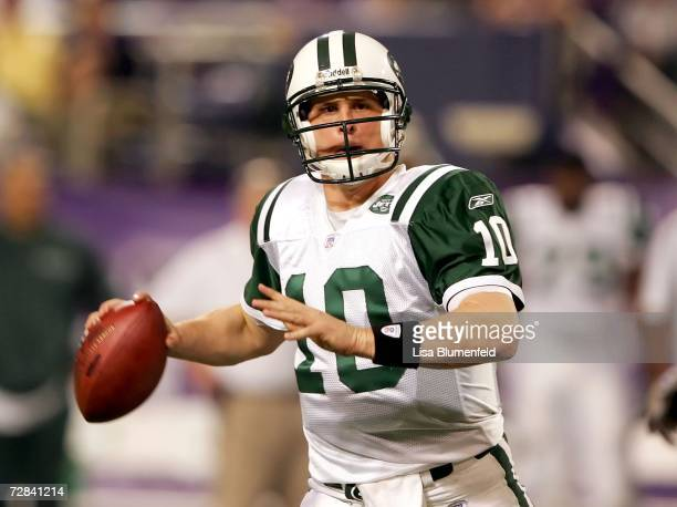 Quarterback Chad Pennington of the New York Jets looks to pass against the Minnesota Vikings on December 17 2006 at the Hubert H Humphrey Metrodome...