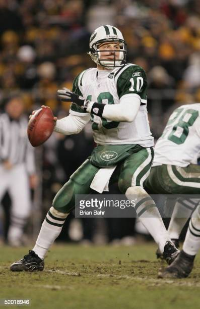 Quarterback Chad Pennington of the New York Jets throws a pass against the Pittsburgh Steelers in an AFC divisional game at Heinz Field on January...