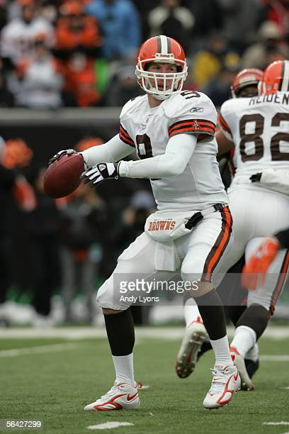 Quarterback Charlie Frye of the Cleveland Browns drops back to pass against the Cincinnati Bengals at Paul Brown Stadium on December 11 2005 in...
