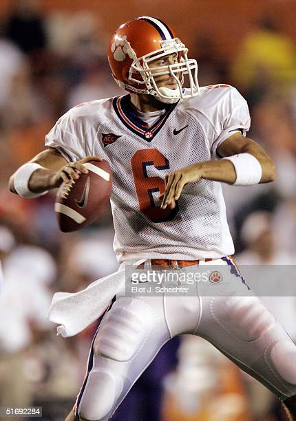 Quarterback Charlie Whitehurst of the Clemson Tigers gets ready to pass against the Miami Hurricanes in the first half on November 6, 2004 at the...