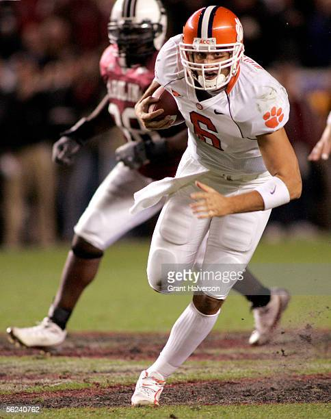 Quarterback Charlie Whitehurst of the Clemson Tigers runs for the gameclinching first down against the South Carolina Gamecocks on November 19 at...