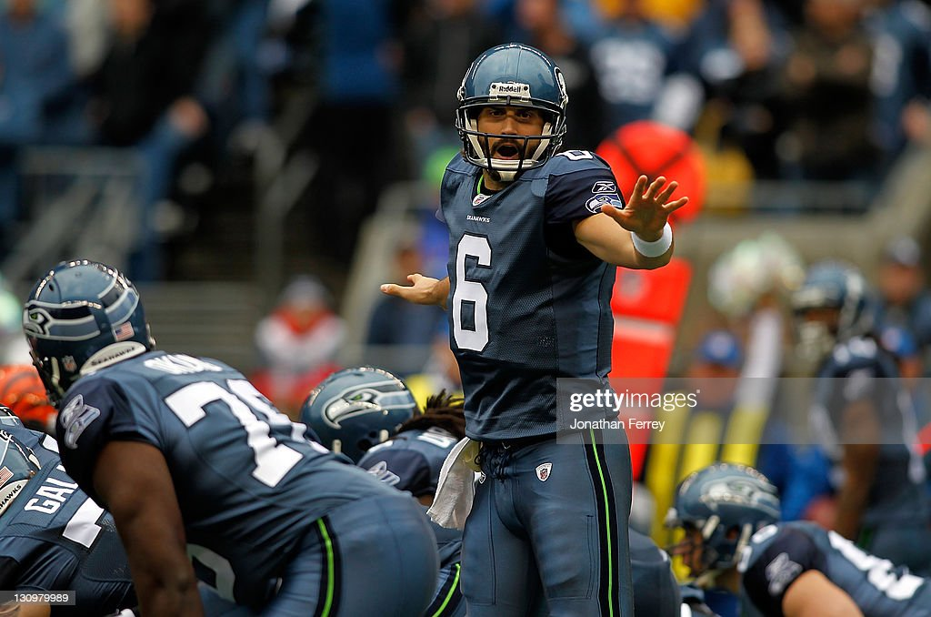 Quarterback Charlie Whitehurst #6 of the Seattle Seahawks calls a play against the Cincinnati Bengals on October 30, 2011 at CenturyLink Field in Seattle, Washington.