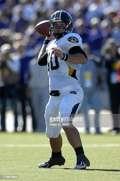 Quarterback Chase Daniel of the Missouri Tigers gets ready to throw the ball down field in the second half against the Kansas State Wildcats on...