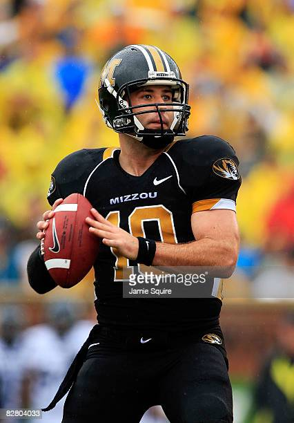 Quarterback Chase Daniel of the Missouri Tigers passes during the first half of the game against the Nevada Wolf Pack on September 13 2008 at...