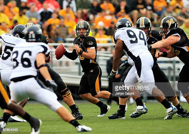 Quarterback Chase Daniel of the Missouri Tigers passes during the first half of the game against the Nevada Wolf Pack on September 13, 2008 at...