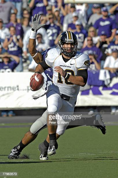 Quarterback Chase Daniel of the Missouri Tigers scrambles out of trouble in the second half against the Kansas State Wildcats at Bill Snyder Stadium...