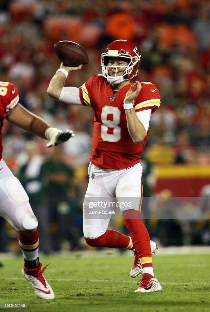 Quarterback Chase Litton #8 of the Kansas City Chiefs passes during the preseason game against the Green Bay Packers at Arrowhead Stadium on August 30, 2018 in Kansas City, Missouri.