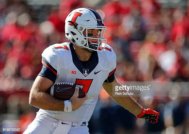Quarterback Chayce Crouch of Illinois runs for a long first down against Rutgers during the third quarter of a game on October 15 2016 in Piscataway...