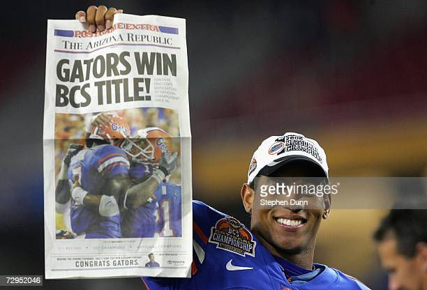 Quarterback Chris Leak of the Florida Gators celebrates after defeating the Ohio State Buckeyes in the 2007 Tostitos BCS National Championship Game...