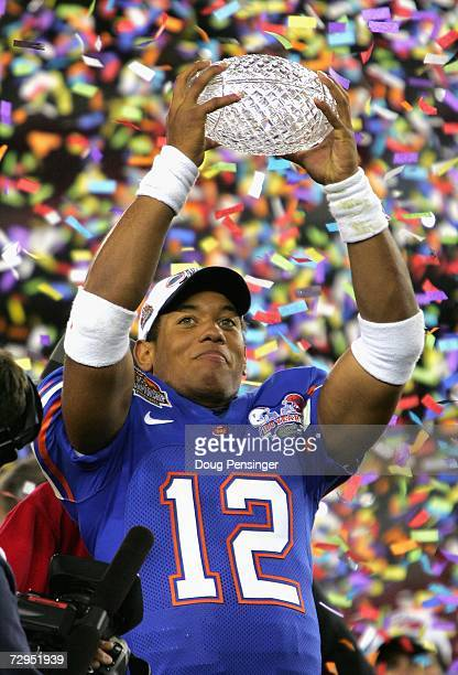 Quarterback Chris Leak of the Florida Gators holds up the BCS Championship trophy after defeating the Ohio State Buckeyes 41-14 during the 2007...