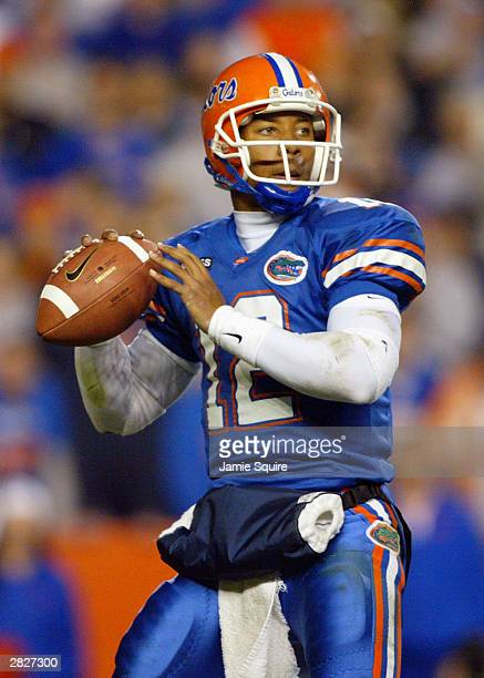 Quarterback Chris Leak of the Florida Gators looks downfield to throw the ball during the game against the Florida State Seminoles on November 29...