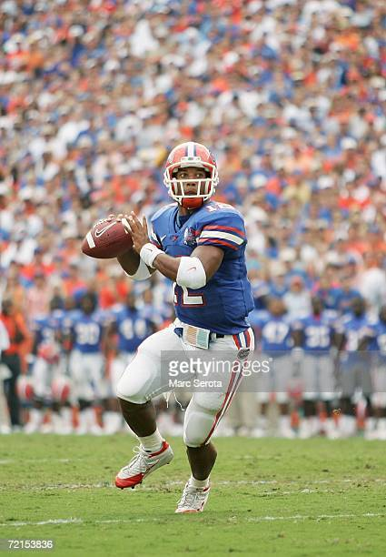 Quarterback Chris Leak of the Florida Gators looks to pass during the game against the LSU Tigers at Ben Hill Griffin Stadium on October 7 2006 in...