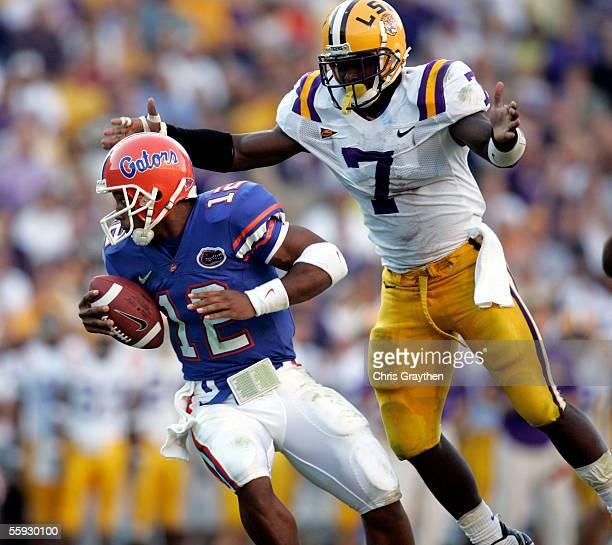 Quarterback Chris Leak of the University of Florida is pressured by Ali Highsmith of Louisiana State University at Tiger Stadium in Baton Rouge...