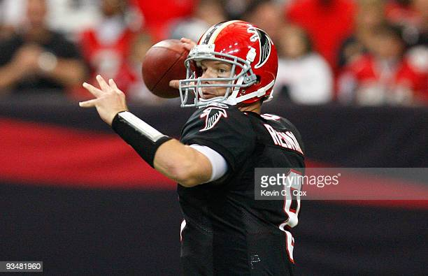 Quarterback Chris Redman of the Atlanta Falcons steps back in the pocket against the Tampa Bay Buccaneers at Georgia Dome on November 29 2009 in...