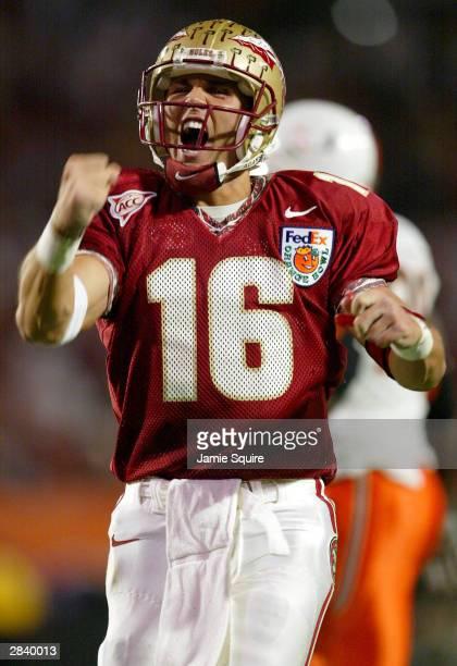 Quarterback Chris Rix of the Florida State Seminoles celebrates a score against the Miami Hurricanes during the Orange Bowl January 1 2004 at Pro...