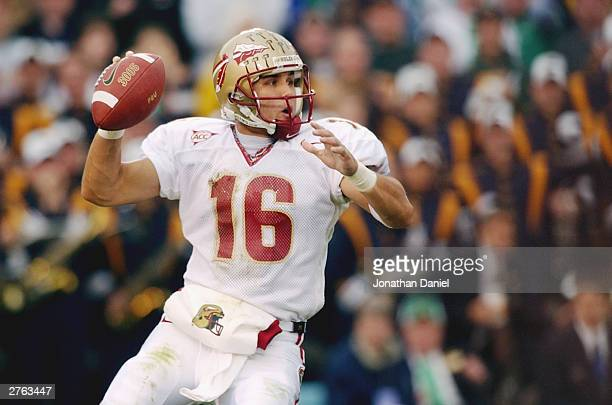 Quarterback Chris Rix of the Florida State Seminoles drops back to throw the football during the game against the Notre Dame Fighting Irish on...
