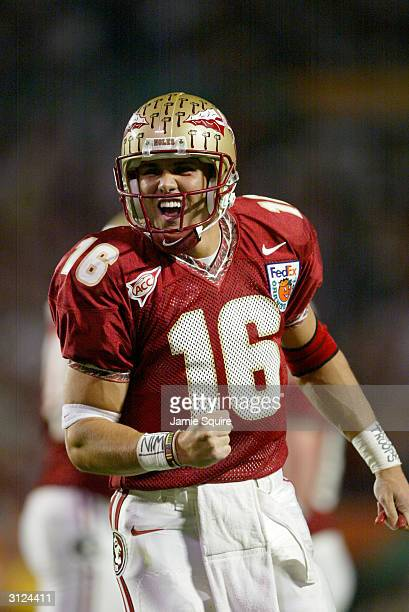Quarterback Chris Rix of the Florida State Seminoles reacts on the field during the 2004 Orange Bowl game against the Miami Hurricanes on January 1...