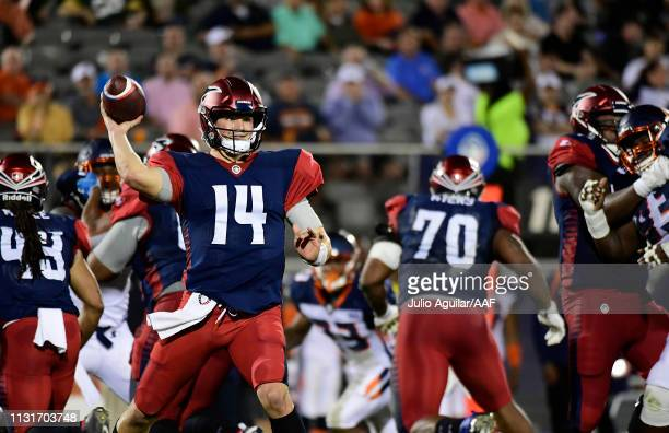 Quarterback Christian Hackenberg of the Memphis Express throws a pass against the Orlando Apollos during the second quarter of the Alliance of...