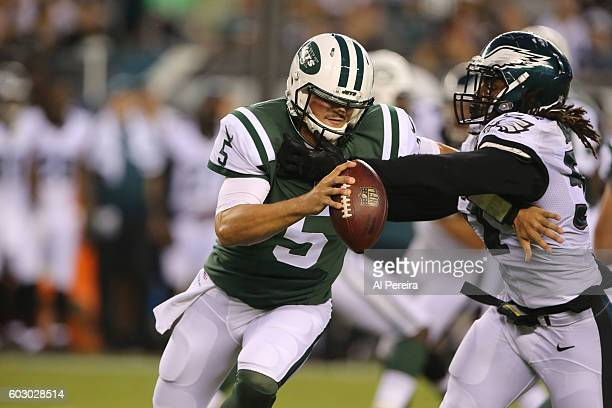 Quarterback Christian Hackenberg of the New York Jets rolls out against the Philadelphia Eagles at Lincoln Financial Field on September 1, 2016 in...