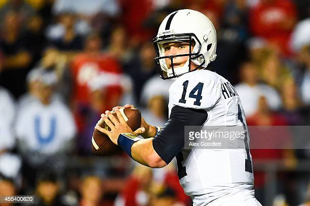 Quarterback Christian Hackenberg of the Penn State Nittany Lions throws a pass in the first quarter during a game against the Rutgers Scarlet Knights...