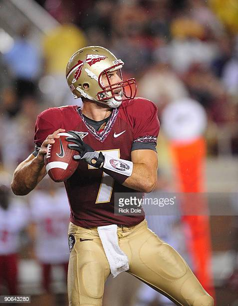 Quarterback Christian Ponder of Florida State throws against Jacksonville State at Doak Campbell Stadium on September 12 2009 in Tallahassee Florida...