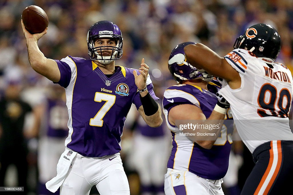Quarterback Christian Ponder #7 of the Minnesota Vikings throws against the Chicago Bears at Mall of America Field on December 9, 2012 in Minneapolis, Minnesota.