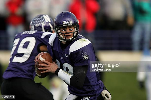 Quarterback C.J. Bacher of the Northwestern University Wildcats passes the ball against the Ohio State University Buckeyes on November 11, 2006 at...