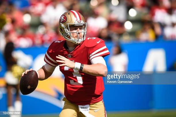 Quarterback CJ Beathard of the San Francisco 49ers looks to pass in the game against the Los Angeles Chargers at StubHub Center on September 30 2018...
