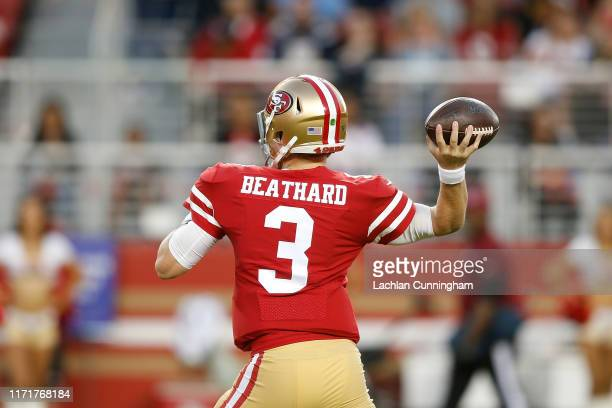 Quarterback CJ Beathard of the San Francisco 49ers passes the ball against the Los Angeles Chargers during the preseason game at Levi's Stadium on...