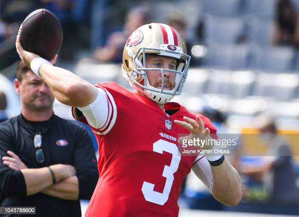 Quarterback CJ Beathard of the San Francisco 49ers warms up ahead of the game against the Los Angeles Chargers at StubHub Center on September 30 2018...