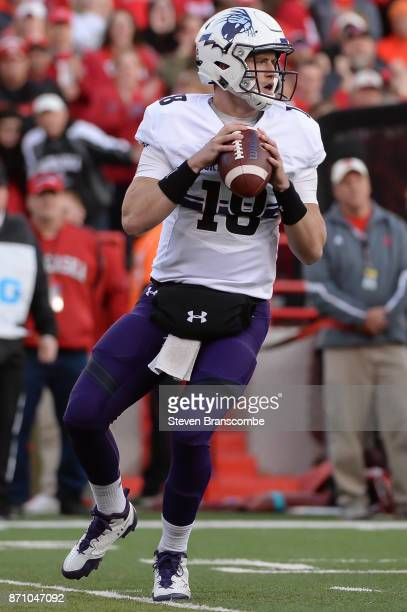 Quarterback Clayton Thorson of the Northwestern Wildcats drops back to pass against the Nebraska Cornhuskers at Memorial Stadium on November 4 2017...