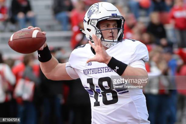 Quarterback Clayton Thorson of the Northwestern Wildcats warms up before the game against the Nebraska Cornhuskers at Memorial Stadium on November 4...