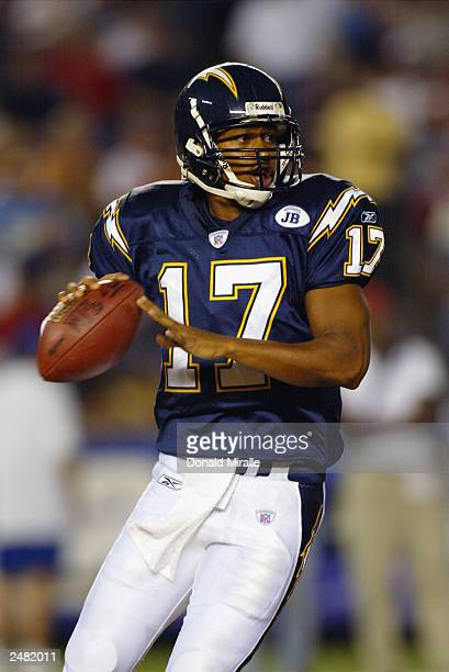 Quarterback Cleo Lemon of the San Diego Chargers drops back to pass the ball against the San Francisco 49ers during the NFL game at Qualcomm Stadium...