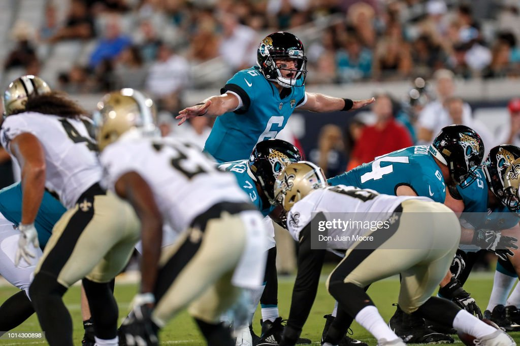 Quarterback Cody Kessler #6 of the Jacksonville Jaguars changes a play at the line of scrimmage during a preseason game against the New Orleans Saints at TIAA Bank Field on August 9, 2018 in Jacksonville, Florida. The Saints defeated the Jaguars 24 to 20.