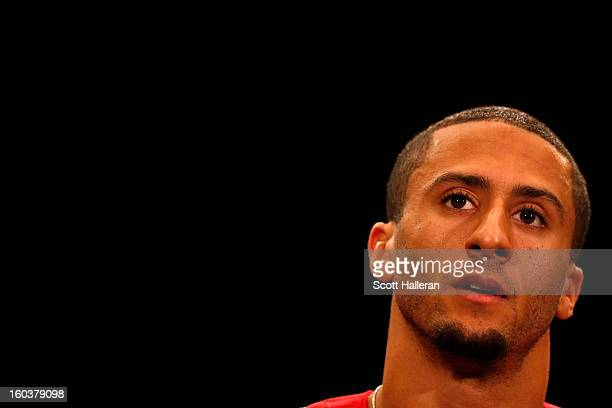 Quarterback Colin Kaepernick of the San Francisco 49ers addresses the media during Super Bowl XLVII Media Availability at the New Orleans Marriott on...