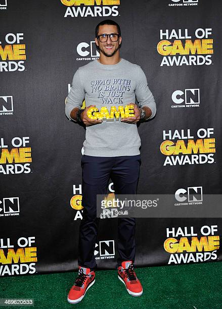 Quarterback Colin Kaepernick of the San Francisco 49ers poses in the press room during Cartoon Network's fourth annual Hall of Game Awards at Barker...