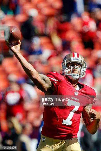 Quarterback Colin Kaepernick of the San Francisco 49ers throws passes before a game against the New York Giants on October 14 2012 at Candlestick...