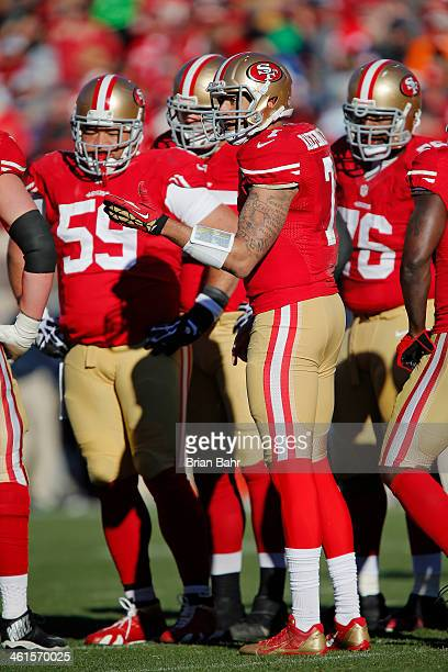Quarterback Colin Kaepernick of the San Francisco 49ers waits for the play call against the Seattle Seahawks in the second quarter on December 8 2013...