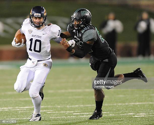 Quarterback Colin Reardon of the Kent State Golden Flashes runs the football during a game against the Ohio Bobcats at Peden Stadium in Athens Ohio...