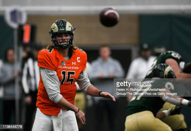 CSU quarterback Collin Hill #15 makes a pass during the team's 2019 Rams football spring game at the CSU's indoor practice facility March 14 2019 in...