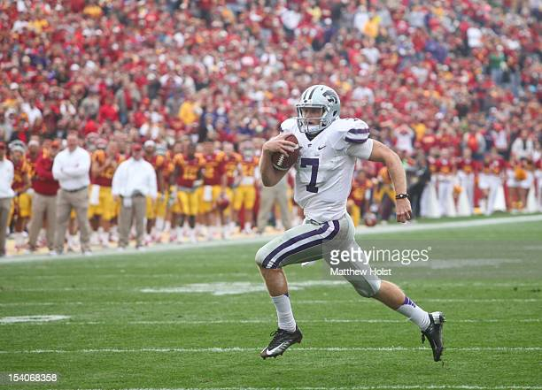 Quarterback Collin Klein of the Kansas State Wildcats rushes down field in the third quarter on a touchdown run against the Iowa State Cyclones on...
