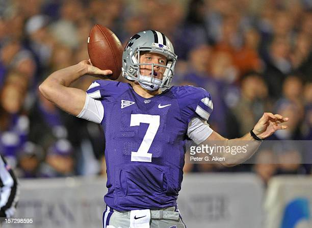 Quarterback Collin Klein of the Kansas State Wildcats throws a pass down field against the Texas Longhorns during the first half on December 1, 2012...