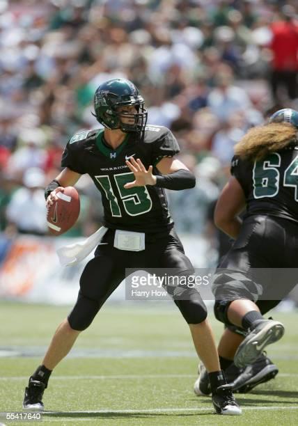 Quarterback Colt Brennan of the University of Hawai'i at Manoa Warriors passes the ball against the University of Southern California Trojans at...