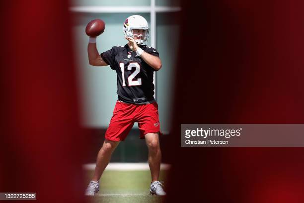 Quarterback Colt McCoy of the Arizona Cardinals participates in an off-season workout at Dignity Health Arizona Cardinals Training Center on June 09,...