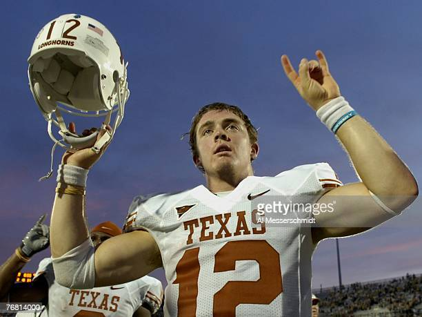 Quarterback Colt McCoy of the Texas Longhorns after play against the University of Central Florida Knights at Bright House Networks Stadium on...