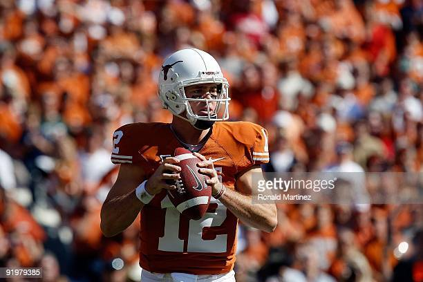 Quarterback Colt McCoy of the Texas Longhorns at Cotton Bowl on October 17, 2009 in Dallas, Texas.