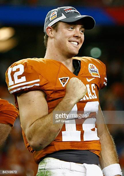 Quarterback Colt McCoy of the Texas Longhorns celebrates after defeating the Ohio State Buckeyes in the Tostitos Fiesta Bowl Game on January 5, 2009...