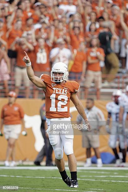 Quarterback Colt McCoy of the Texas Longhorns celebrates during the game against the Florida Atlantic Owls on August 30 2007 at Darrell K RoyalTexas...