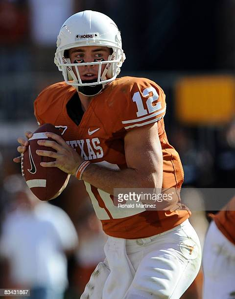 Quarterback Colt McCoy of the Texas Longhorns drops back to pass against the Oklahoma State Cowboys at Texas Memorial Stadium on October 25, 2008 in...