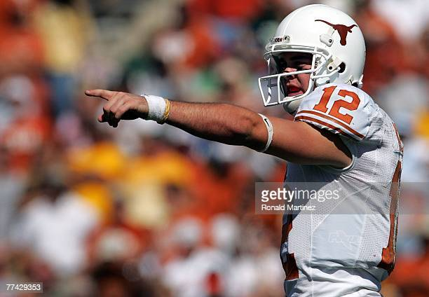 Quarterback Colt McCoy of the Texas Longhorns during play against the Baylor Bears at Floyd Casey Stadium on October 20, 2007 in Waco, Texas.
